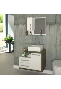 Gabinete Para Banheiro 1 Porta 2 Gavetas Com Cuba E Espelheira Legno 650W Siena Móveis Branco/Carvalho Dark
