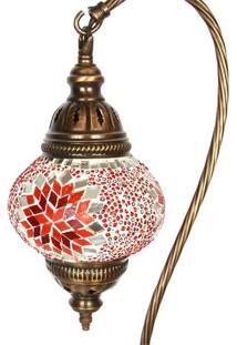 Abajur Curvo Com Mosaico Vermelho 39Cm
