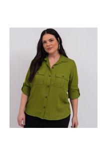 Camisa Liocel Com Bolsos Curve & Plus Size | Ashua Curve E Plus Size | Verde | Eg