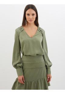 Blusa Le Lis Blanc Joana Malha Verde Feminina (Olive, 38)
