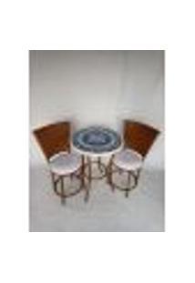 Conjunto De Mesa Em Branco Com Tons De Azul Com Cadeiras Sacada