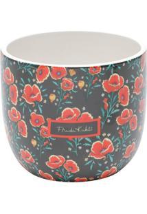 Cachepot Frida Kahlo® Floral- Preto & Vermelho- 12,5Urban