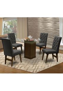 Mesa Para Sala De Jantar Saint Louis Com 4 Cadeiras – Dobuê Movelaria - Castanho / Chumbo