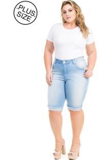 Bermuda Feminina Jeans Claro Com Elastano Plus Size