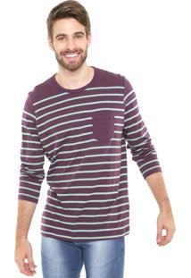 Camiseta Polo Play Listrada Vinho