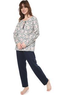 Pijama Pzama Recorte Off-White/Azul-Marinho