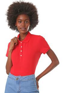 Camisa Polo Gap Lisa Vermelha - Vermelho - Feminino - Algodã£O - Dafiti