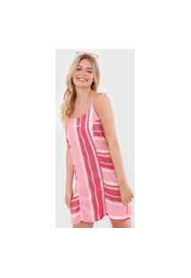 Vestido Hang Loose Curto Waves Beach Rosa/Vermelho