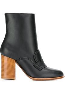 Loewe Ankle Boot Com Detalhe Brogue - Preto
