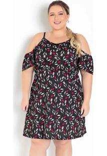 Vestido Floral Preto Com Alcinhas Plus Size