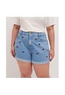 Short Jeans Com Bordados Minnie Curve & Plus Size | Ashua Curve E Plus Size | Azul | 52