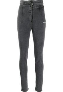 Off-White Calça Jeans Com Cintura Alta - Cinza