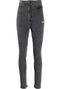 Off-White High Waisted Jeans - Cinza