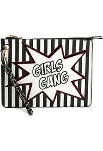 Clutch Loucos & Santos Girls Gang - Feminino-Preto+Branco