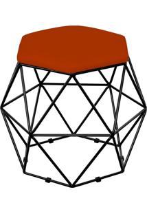 Puff Decorativo Aramado Preto Six Suede Laranja - Lyam Decor