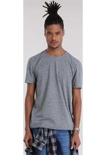 Camiseta Básica Flamê Listrada Cinza Mescla Escuro