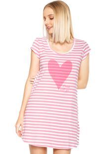 Camisola Espaço Pijama Curta Estampada Rosa