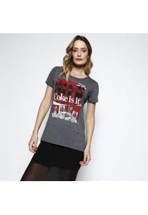 "Camiseta ""Coke Is It®"" - Cinza Escuro & Vermelha - Ccoca-Cola"