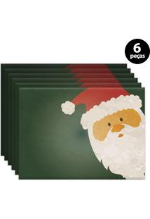 Jogo Americano Mdecore Papai Noel 40X28Cm Verde 6Pçs