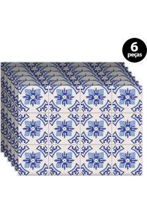 Kit 6Pçs Jogo Americano Mdecor Coqueiros 40X28Cm Azul