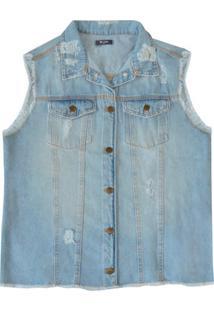 Colete Feminino Em Jeans Com Destroyed E Acabamento Desfiado