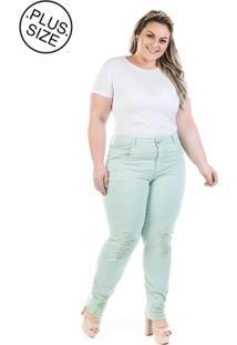 Calça Plus Size - Confidencial Extra Jeans Cigarrete Color Destroyed - Tricae
