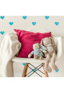Adesivo De Parede Quartinhos Infantil Coração Azul Poá Bolinhas