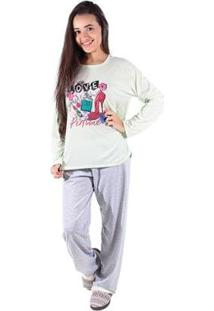 Pijama Linha Noite De Malha Longo Feminino - Feminino-Verde