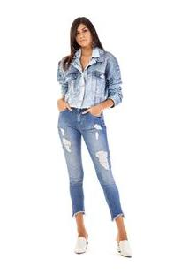 Jaqueta Cropped Bordada Manual Jeans
