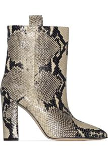 Paris Texas Ankle Boot Com Efeito Pele De Cobra 100Mm - Neutro