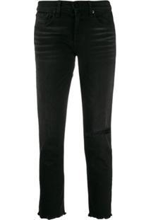 Rag & Bone Calça Jeans Boyfriend Cropped - Preto
