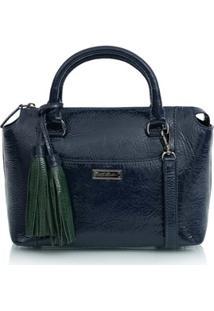 Bolsa Pequena Barbicachos Em Verniz Azul