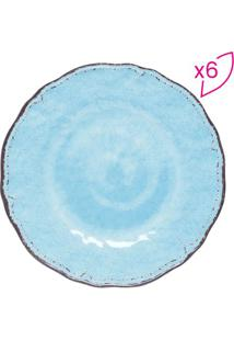Jogo De Pratos Para Sobremesa Texturizados- Azul & Marrorojemac