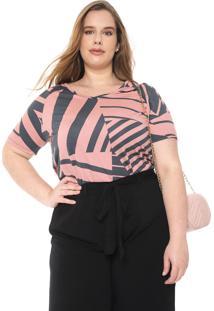 Blusa Cativa Plus Estampada Rosa/Grafite