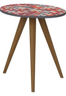 Mesa Lateral Decorativa Lyam Decor Retrô Estampa Vermelha