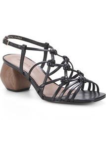 Sandália Couro Shoestock Macramê Salto Médio Geométrico Feminino - Feminino-Preto