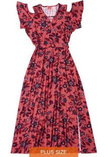 Vestido Vermelho Com Fenda & Aberturas Wee!