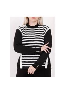 Blusão De Tricot Plus Size Feminino Preto/Branco