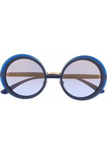 Dolce & Gabbana Eyewear Óculos De Sol Redondo - Azul