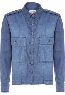 Camisa Feminina Jeans Escura - Azul