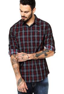 Camisa Manga Longa Colcci Xadrez Vinho/Azul
