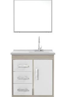 Gabinete Banheiro Tampo/Vidro Canopus Com 03 Gavetas-Branco