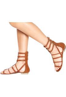 Rasteira Dafiti Shoes Gladiadora Caramelo