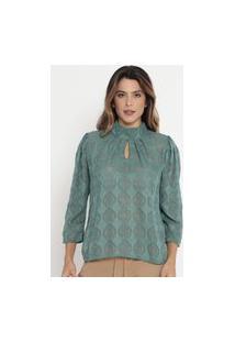 Blusa Geométrica Texturizada Verde