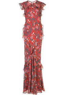Saloni Vestido Longo Com Estampa Floral - Vermelho