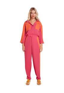 Calça Zinco Alfaiataria Cós Alto Composê Tecido Pink