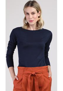 Suéter Feminino Básico Em Tricô Decote Redondo Azul Marinho