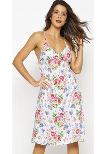 Vestido De Alça Estampado- Azul Claro & Rosavip Reserva