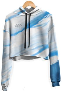 Blusa Cropped Moletom Feminina Ocean Aloha Tie Dye Md29 - Branco - Feminino - Poliã©Ster - Dafiti