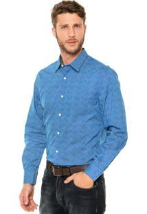 Camisa Perry Ellis Abstrata Azul